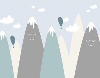 Фотообои Голубые векторные горы 24058