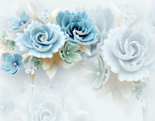 Фотошпалери Бірюзові керамічні квіти 23744