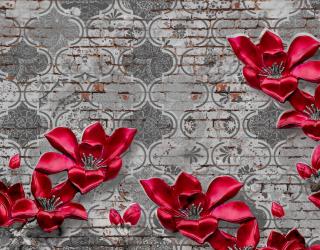 Фотообои Бордовые цветы на фоне печворк 20267