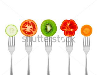 Фотообои Вилки, помидор, морковка 104948129