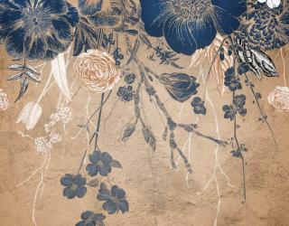 Фотообои Винтажные синие цветы 24351