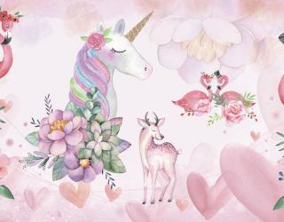 Фотообои Единороги и фламинго 23767