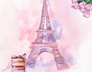 Фотообои Акварельный Париж для девочек 22125