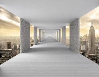 Фотообои Тоннель с городом 3д 22130