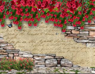 Стена с цветами 3д 20266