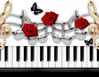 Фотообои  Пианино с розой 22257