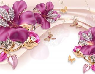 Фотообои Шикарные розовые брошки 22572