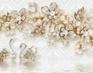 Фотообои  Золотые цветы с лебедями 22332