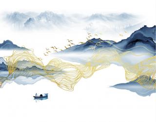 Фотообои Волны из синей и золотой абстракции 24982