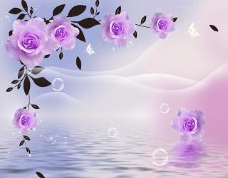 Фотообои  Фиолетовые 3д цветы 22275