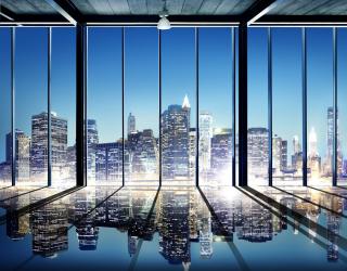 Фотообои Вид из окна на город 20231