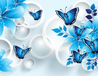Фотообои  Синие цветы вектор 22165