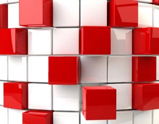 Фотообои Красные ибелые кубики 3Д 20538