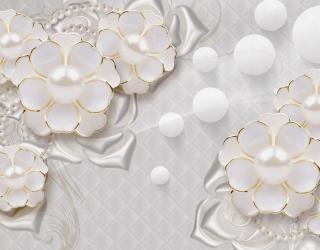 Фотообои  Белые цветы с жемчугом 22181