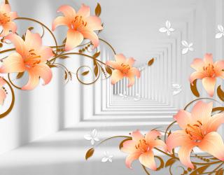 Фотообои Тонель и оранжевые лилии 20094