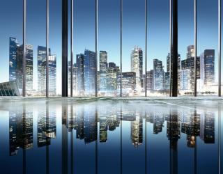 Фотообои Вид из окна на город 20232