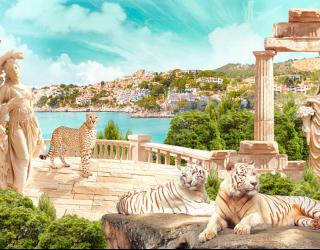 Фотообои Фреска с тиграми 22499