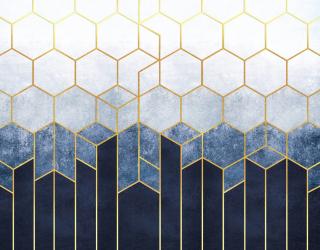Фотообои Шестиугольники синие 27064