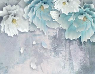Фотообои Голубые 3д цветы 26159
