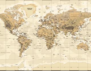 Фотообои Коричневая карта мира 20246