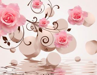 Фотообои 3D фигуры с розами 18129