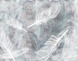 Фотообои Белые перья на акварельном фоне 29231