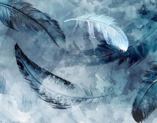 Фотообои Синие акварельные перья 28599