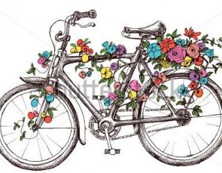 Фотообои Велосипед, цветы 318909014