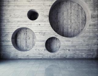 Фотообои Серая деревянная стена с кругами 20648