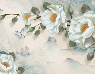 Фотообои Цветы на бирюзовом фоне 22919