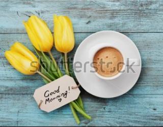 Фотообои Кофе, тюльпаны 373476370