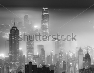 Фотообои Город в тумане 313852094