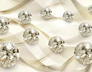 3д фотообои Драгоценные камни на золотом атласе 22465