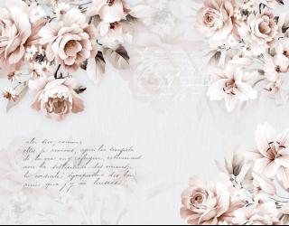 Фотообои Нежные цветы и текст 28953