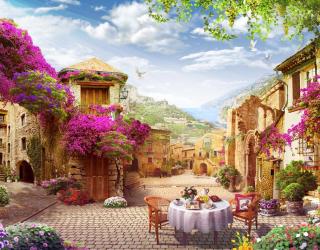 Фотообои Цветочный дворик 18706