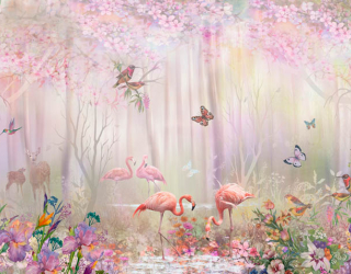 Фотообои Фламинго в сказачном лесу 22486