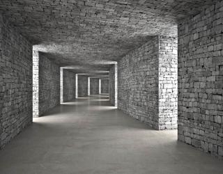 Фотообои Серый 3д тоннель 26576