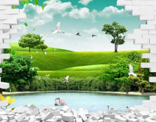 Фотообои Стена с видом на природу а164