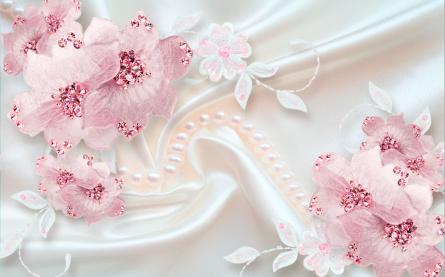 Фотообои Розовые цветы на атласе