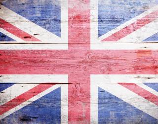 Фотообои флаг Великобритании на деревянном фоне 20554