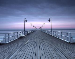 Фотообои Фиолетовый закат у дороги 15551
