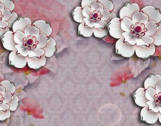 Фотообои Керамические цветы на фоне барроко 20259