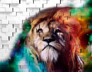 Фотообои 3д лев на фоне кирпичной стены 28194