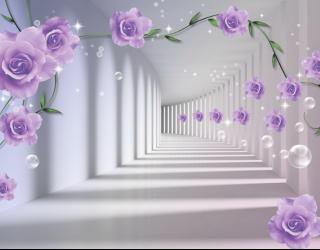 Фотообои 3D бутоны фиолетовых роз 15982