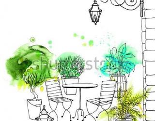 Фотообои Столик, стулья 416082334