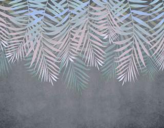 Фотообои Листья с потолка на сером 24312