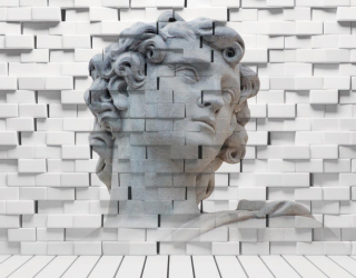 3д фотообои Стена, статуя 15736