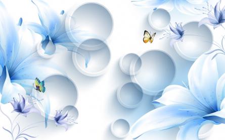 Фотообои  Синие цветы с бабочками