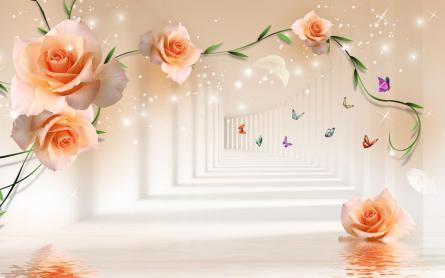 Фотообои Тонель с оранжевыми цветами