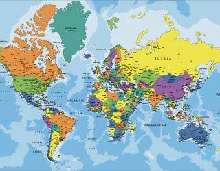 Фотообои Карта мира на английском 23088
